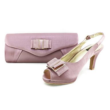 Women's Spring Summer Fall Slingback Satin Party & Evening Dress Stiletto Heel Purple