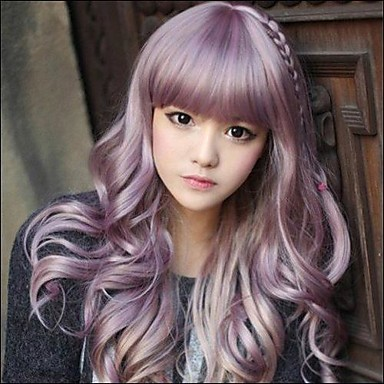 Synthetic Wig With Bangs Purple Lolita Wig Natural Wigs Long