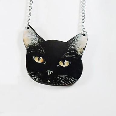 Black Cat Pattern Wood Necklace