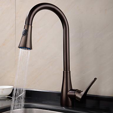 Armatur für die Küche - Ein Loch Öl-riebe Bronze Pull-out / Pull-down deckenmontiert Traditionell Kitchen Taps / Messing / Einhand Ein Loch