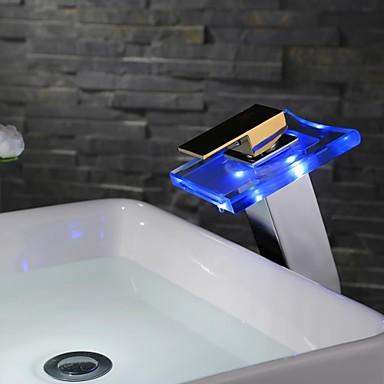 Bathroom Sink Faucet - Waterfall Chrome Centerset One Hole Single Handle One Hole