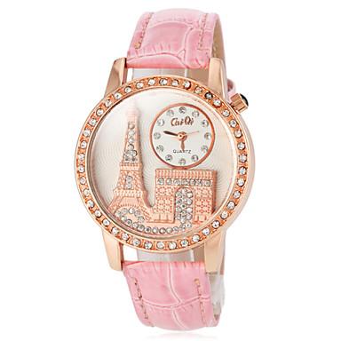 Pentru femei Ceas La Modă Japoneză Quartz PU Bandă Sclipici Turnul Eiffel Negru Alb Roșu Maro Pink Violet