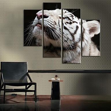 pânză întinsă decorare tigru alb set de 4