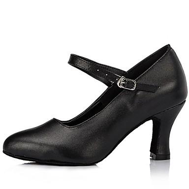 Для женщин Современный Кожа На высоких каблуках С пряжкой На толстом каблуке Черный Красный 7 см Не персонализируемая