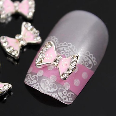 10 buc roz papion sfaturi drăguț accesorii din aliaj stras degetul decorare unghii