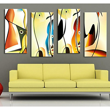 Aufgespannte Leinwandrucke Leinwand-Set Abstrakt Fantasie Modern Vier Panele Vertikal Druck Wand Dekoration Haus Dekoration