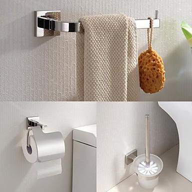 Bad Zubehör-Set Gute Qualität Moderne Edelstahl 3 Stück - Hotelbad Toilettenbürstehalter Turm Bar Toilettenpapierhalter