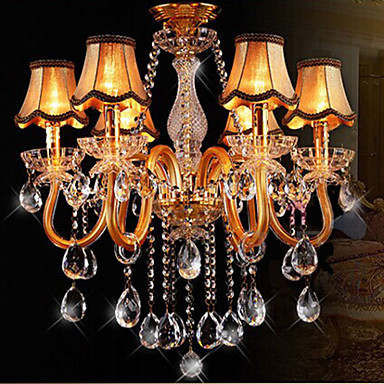 Moderna l mpara de ara a de cristal en color oro con - Lampara de arana moderna ...