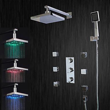 Moderna Sistema do Chuveiro Chuveiro Tipo Chuva LED Válvula Cerâmica Três Handles cinco buracos Cromado , Torneira de Chuveiro