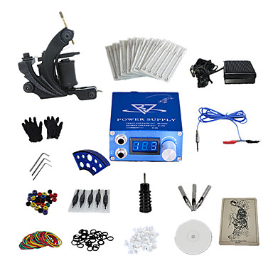 1 Gun Complete No Ink Tattoo Kit with Skull Pattern Power Supply