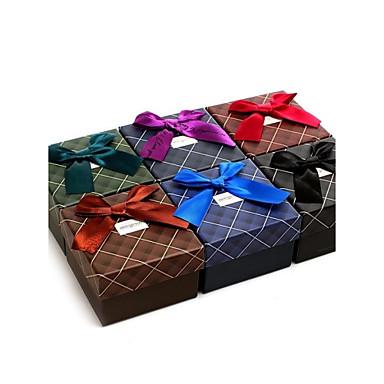 plaid horloge doos met lint (willekeurige kleur)
