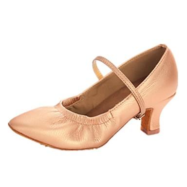 Damen Schuhe für modern Dance Kunstleder Absätze Schnalle / Rüschen Blockabsatz Keine Maßfertigung möglich Tanzschuhe Champagner / Schwarz