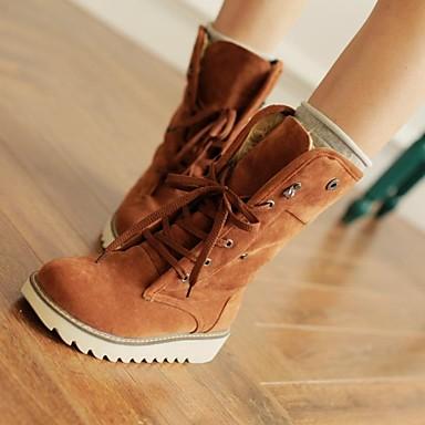 Черный / Коричневый / Желтый / Бежевый - Женская обувь - На каждый день - Дерматин - На низком каблуке - С круглым носком - Ботинки