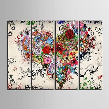 halpa Tulosteet-Painettu Valssatut kangasjulisteet - Abstrakti Kukkakuvio / Kasvitiede Klassinen Moderni 4 paneeli Art Prints