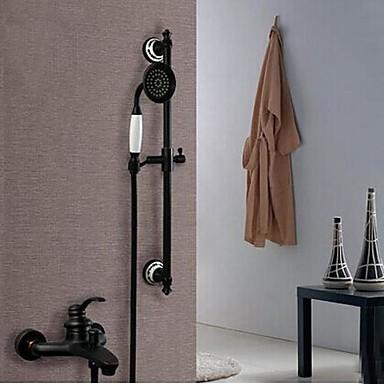 Современный Ванна и душ Керамический клапан Одной ручкой четыре отверстия Начищенная бронза, Смеситель для душа