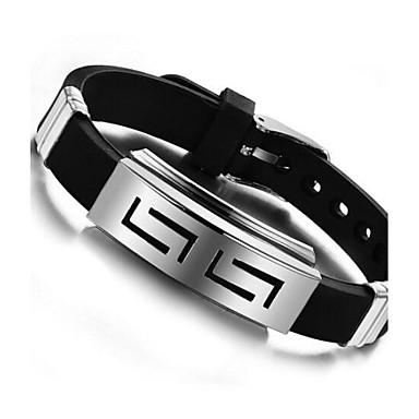 voordelige Herensieraden-Heren ID-armband Gepersonaliseerde Uniek ontwerp Siliconen Armband sieraden Zwart Voor Dagelijks Causaal / Titanium Staal