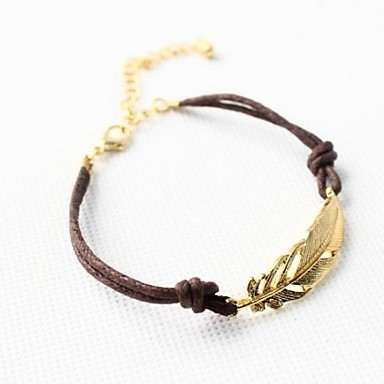 Damen Bettelarmbänder - Leder Blattform Personalisiert, Einzigartiges Design, Grundlegend Armbänder Braun-Gold Für Weihnachts Geschenke Alltag Normal
