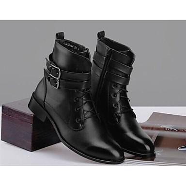 -Для мужчин-Повседневный-Кожа Мех-На низком каблуке-Удобная обувь-Ботинки