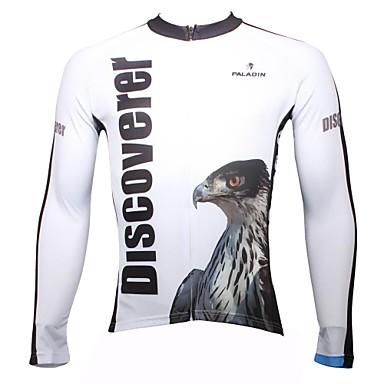 ILPALADINO Муж. Длинный рукав Велокофты - Белый Животное Велоспорт Быстровысыхающий, Ультрафиолетовая устойчивость, Дышащий