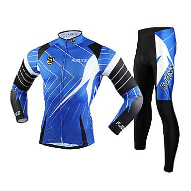 FJQXZ Herrn Langarm Fahrradtrikots mit Fahrradhosen - Blau Fahhrad Kleidungs-Sets, Windundurchlässig, Atmungsaktiv, 3D Pad, warm halten, Rasche Trocknung Gitter Linien / Wellen / UV-resistant