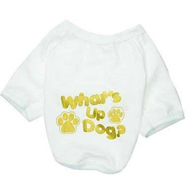 Кошка Собака Футболка Одежда для собак Буквы и цифры Белый Хлопок Костюм Для домашних животных