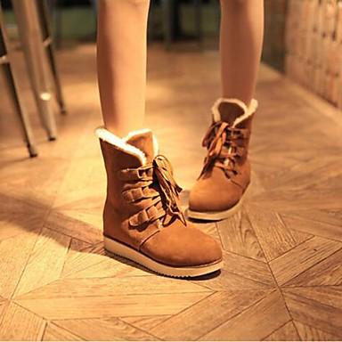 Черный / Коричневый / Красный - Женская обувь - На каждый день - Ткань - На плоской подошве - С круглым носком / Модная обувь - Ботинки