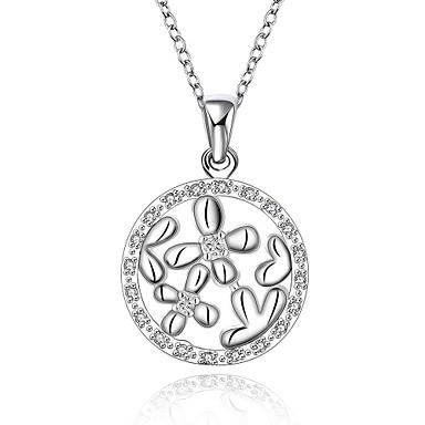 Damen Halsketten Anhängerketten Anhänger Synthetische Edelsteine Sterling Silber Zirkon Kubikzirkonia Silber Halsketten Anhängerketten