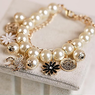 Pentru femei Brățări cu Talismane - Imitație de Perle, Ștras, Placat Auriu Altele