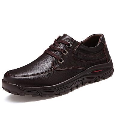 Bărbați Pantofi Piele Primăvară Vară Toamnă Iarnă Tălpi cu Lumini Confortabili Dantelă pentru Casual Birou și carieră Negru Maro