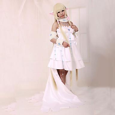 Inspireret af Tsubasa Chii Anime Cosplay Kostumer Cosplay Kostumer Kjoler Patchwork Langærmet Kjole Krave Til Dame