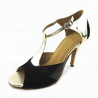 Damen Schuhe für den lateinamerikanischen Tanz Wildleder Sandalen Schnalle Maßgefertigter Absatz Maßfertigung Tanzschuhe