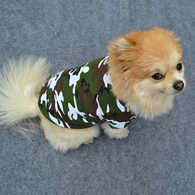 Köpek Tişört Köpek Giyimi kamuflaj Yeşil Pamuk Kostüm Evcil hayvanlar için Erkek Kadın's Moda
