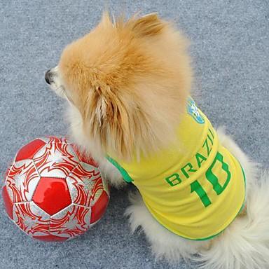 Katze Hund T-shirt Trikot Hundekleidung Buchstabe & Nummer Gelb Terylen Kostüm Für Haustiere Herrn Damen Urlaub Sport