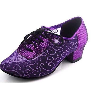 baratos Shall We® Sapatos de Dança-Mulheres Sapatos de Dança Sintéticos Sapatos de Dança Moderna / Dança de Salão Lantejoulas Salto Salto Baixo Não Personalizável Bronzeado / Preto / Rosa / EU41