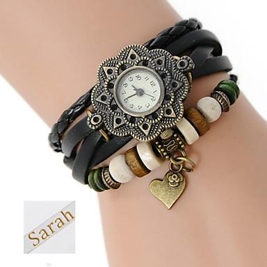 tre strati dell'involucro braccialetto di cuoio dell'unità di elaborazione analogico delle donne regalo personalizzati inciso orologio con strass
