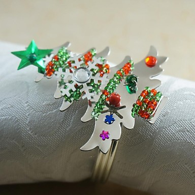 colorate fulg de zăpadă de Crăciun copac inel pentru șervețele multe culori acrilice, de 4,5 cm, set de 12