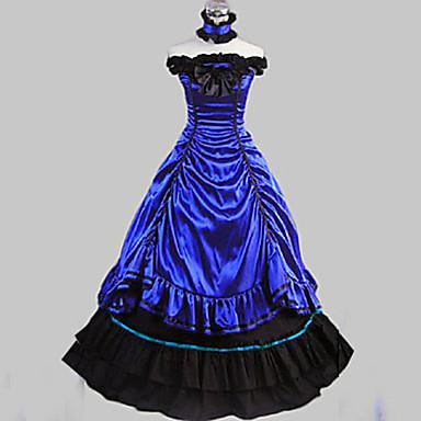 Rococo Wiktoriańskie Kostüm Kadın's Elbiseler Parti Kostümleri Maskeli Balo Koyu Mavi Eski Tip Cosplay Saten Pamuk Kolsuz Uzun (L) Balo Abiyesi