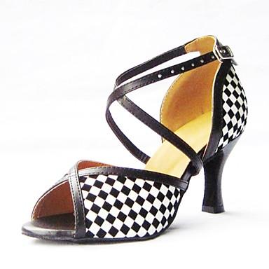 Damen Schuhe für den lateinamerikanischen Tanz Kunstleder Sandalen Schnalle Stöckelabsatz Rot / Blau / Gold 3 - 3 3/4inch Keine
