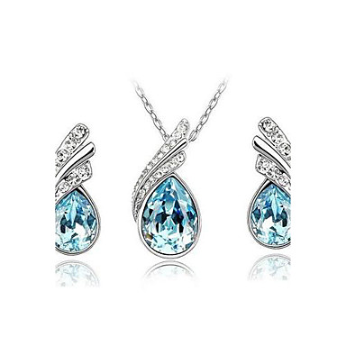 cheap Jewelry Sets-Women's Crystal Jewelry Set - Austria Crystal Drop Ladies, Party, Casual, Basic, Fashion Include Drop Earrings Pendant Necklace Pendant Red / Blue / Light Blue For Party Special Occasion Anniversary