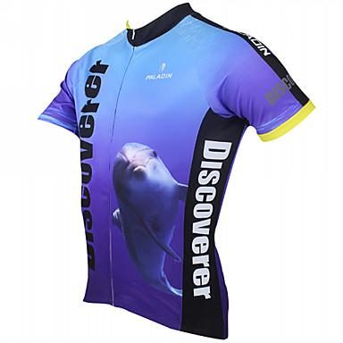 ILPALADINO Bărbați Manșon scurt Jerseu Cycling Desene Animate Animal Bicicletă Jerseu, Uscare rapidă, Rezistent la Ultraviolete,