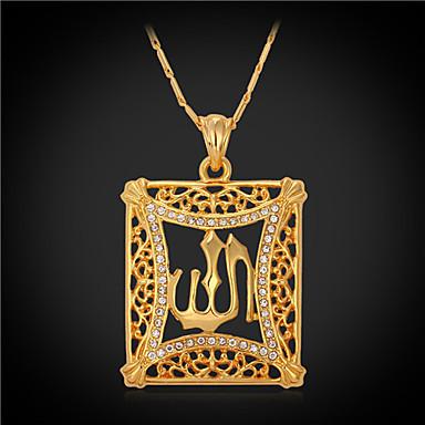 Synthetischer Diamant Krystall Strass vergoldet Anhängerketten Vintage Halskette - Quadratisch Modische Halsketten Für