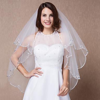Один слой Свадебные вуали Фата до локтя С 39,37 В (100 см) Тюль