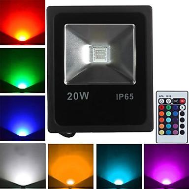 JIAWEN 1pc 20 W 1600 lm 1 LED perler Høyeffekts-LED Fjernstyrt RGB 85-265 V