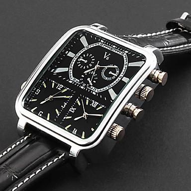 Személyre szabott ajándékot Watch, Három időzóna Analóg Kvarc Japán kvarc Watch With ötvözet tok anyaga Bőr Zenekar Katonai óra
