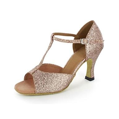 Damen Schuhe für den lateinamerikanischen Tanz Glitzer Sandalen Stöckelabsatz Keine Maßfertigung möglich Tanzschuhe Gold / Leder