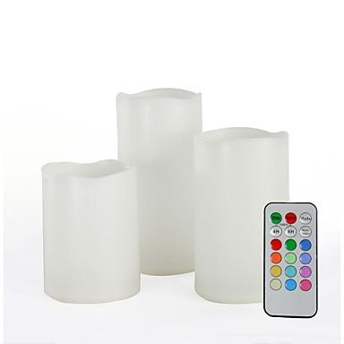 set de 3 controlat de la distanță plastic multi-color lumânări eșuat (de culoare schimbarea lumânări fără flacără)