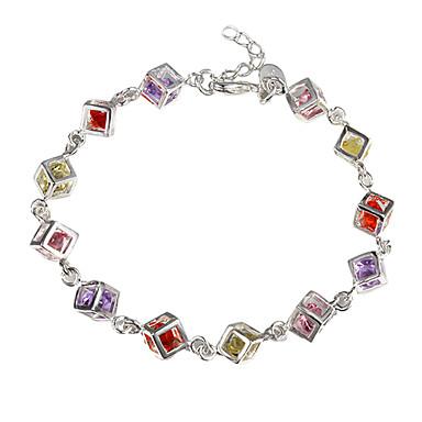 Damen Kubikzirkonia Tennis Armbänder - Sterling Silber, Zirkon Einzigartiges Design, Modisch Armbänder Rot und Gelb Für Weihnachts Geschenke Alltag Normal