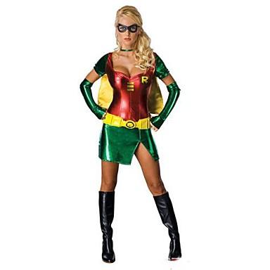 Superhelden Cosplay Kostuums / Feestkostuum Dames Halloween / Carnaval Festival / Feestdagen Halloweenkostuums Groen  / geel Patchwork