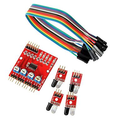 voordelige Elektrische apparatuur & benodigdheden-4-weg infrarood tracing transmissielijn modules auto robot sensoren voor Arduino