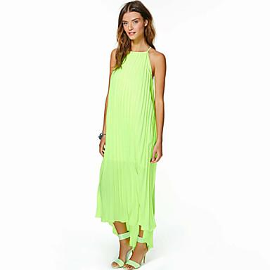 8eae5a46 QUEEN ™ Neon Farge kjoler uten ermer stroppeløs Off skulder Maxi kjoler  Loose Beach Kjoler plissert